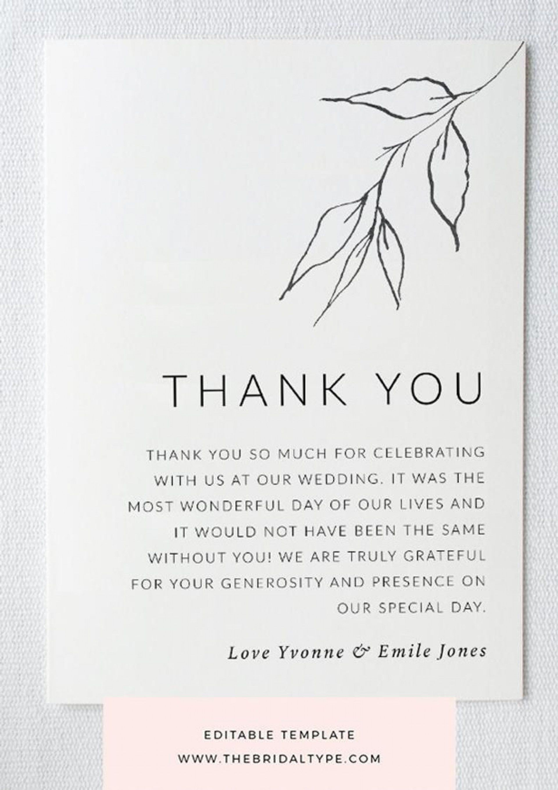 001 Stupendou Thank You Note Template Wedding Money Highest Clarity  Card Example For Sample Cash Gift1920