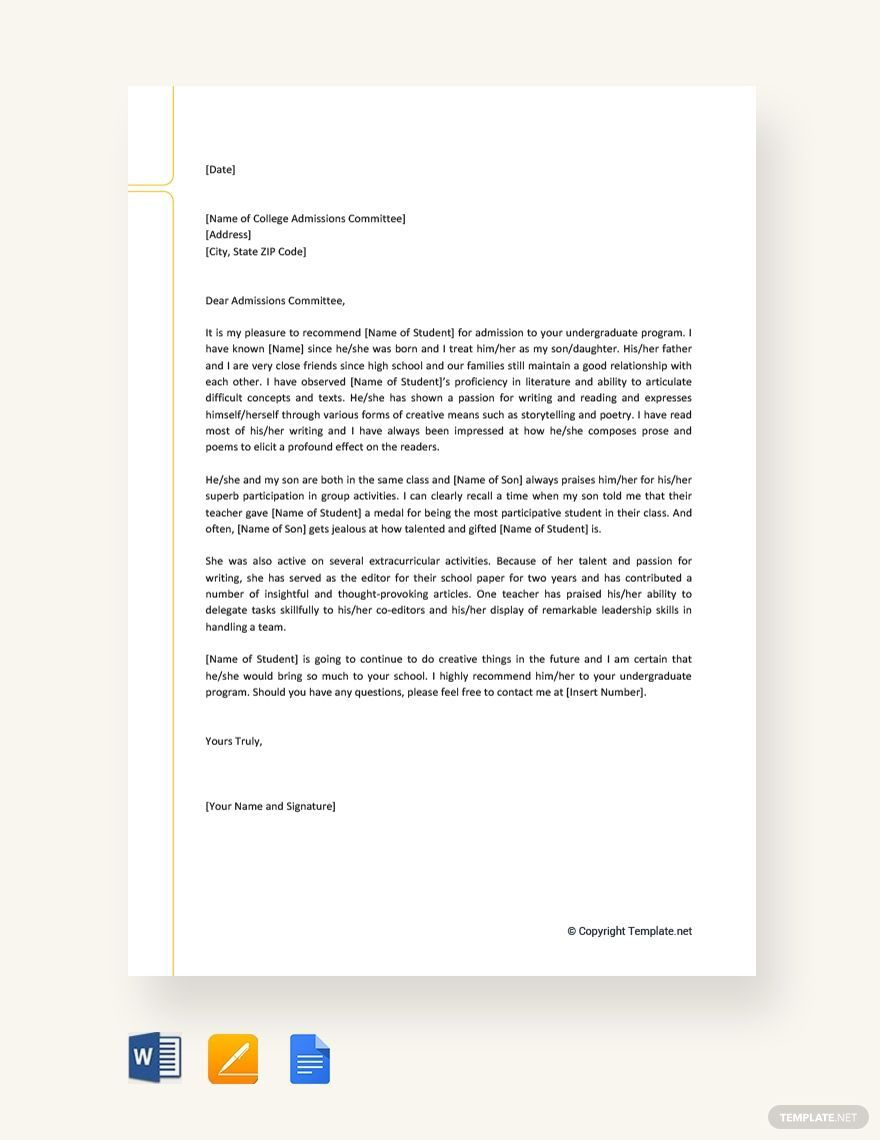 001 Surprising College Letter Of Recommendation Template Concept  Writing Scholarship From EmployerFull