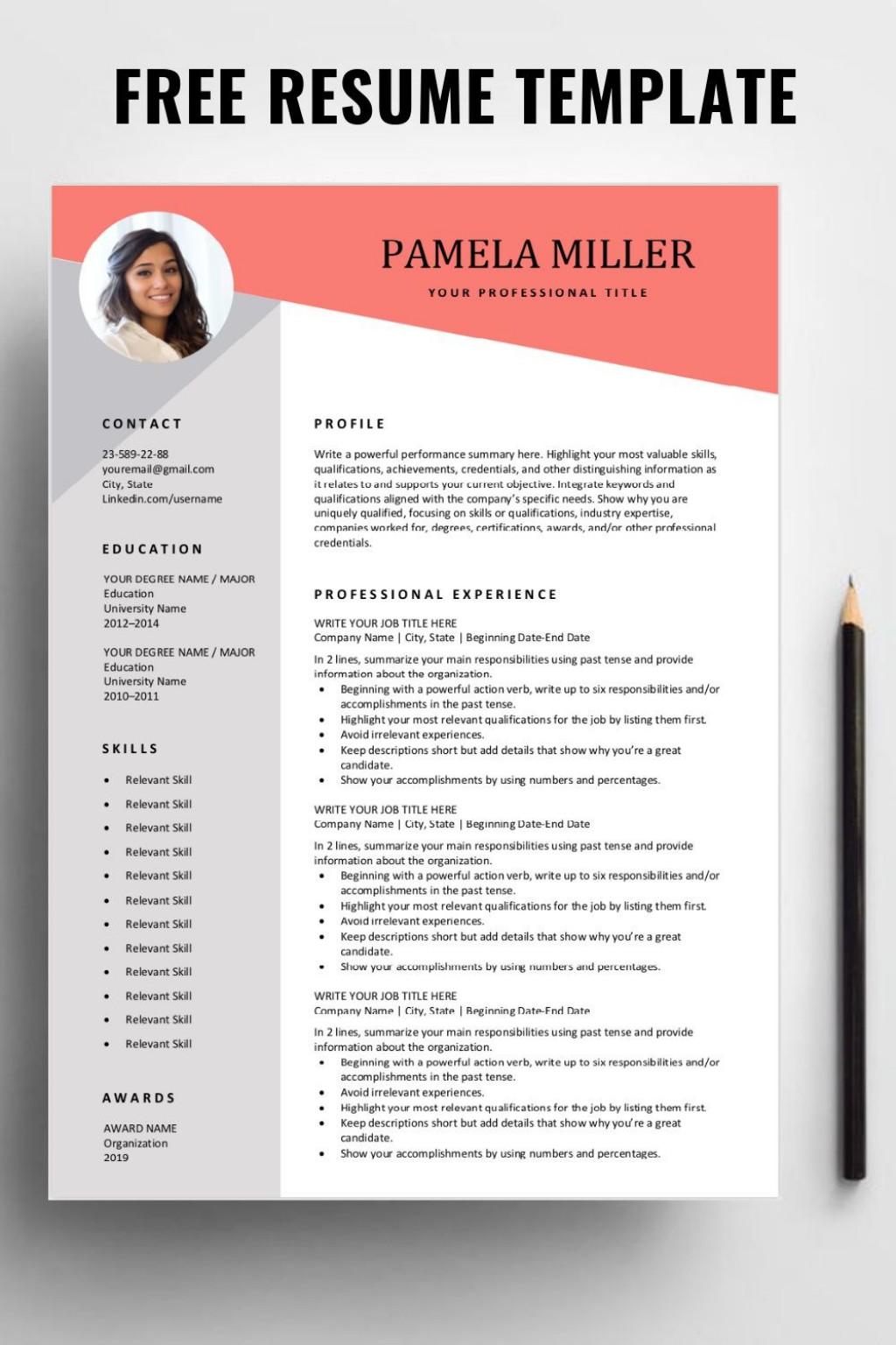 001 Surprising Free Download Resume Template Idea  Templates Word 2019 Pdf 2020Large