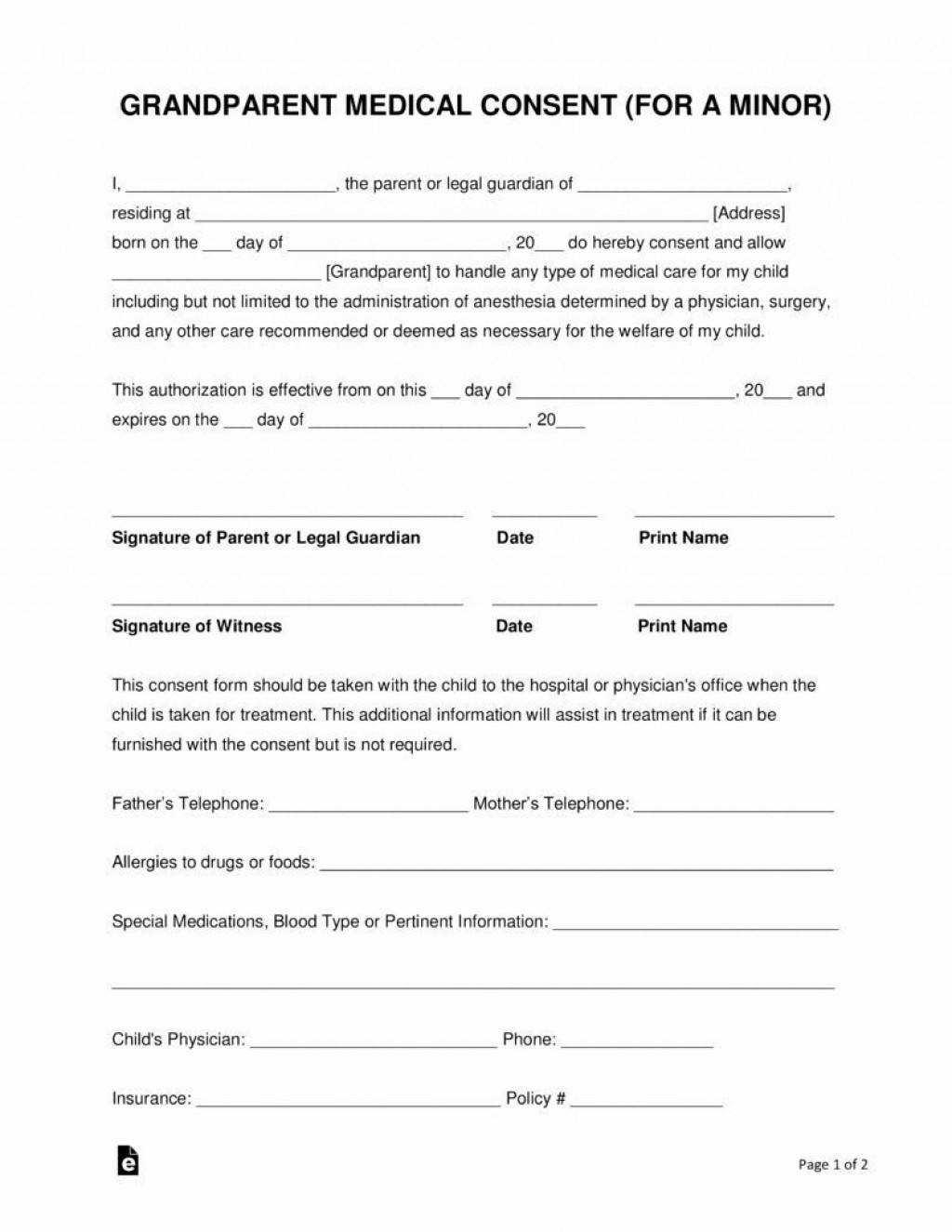 001 Surprising Free Medical Consent Form Template Example  Child Pdf UkLarge