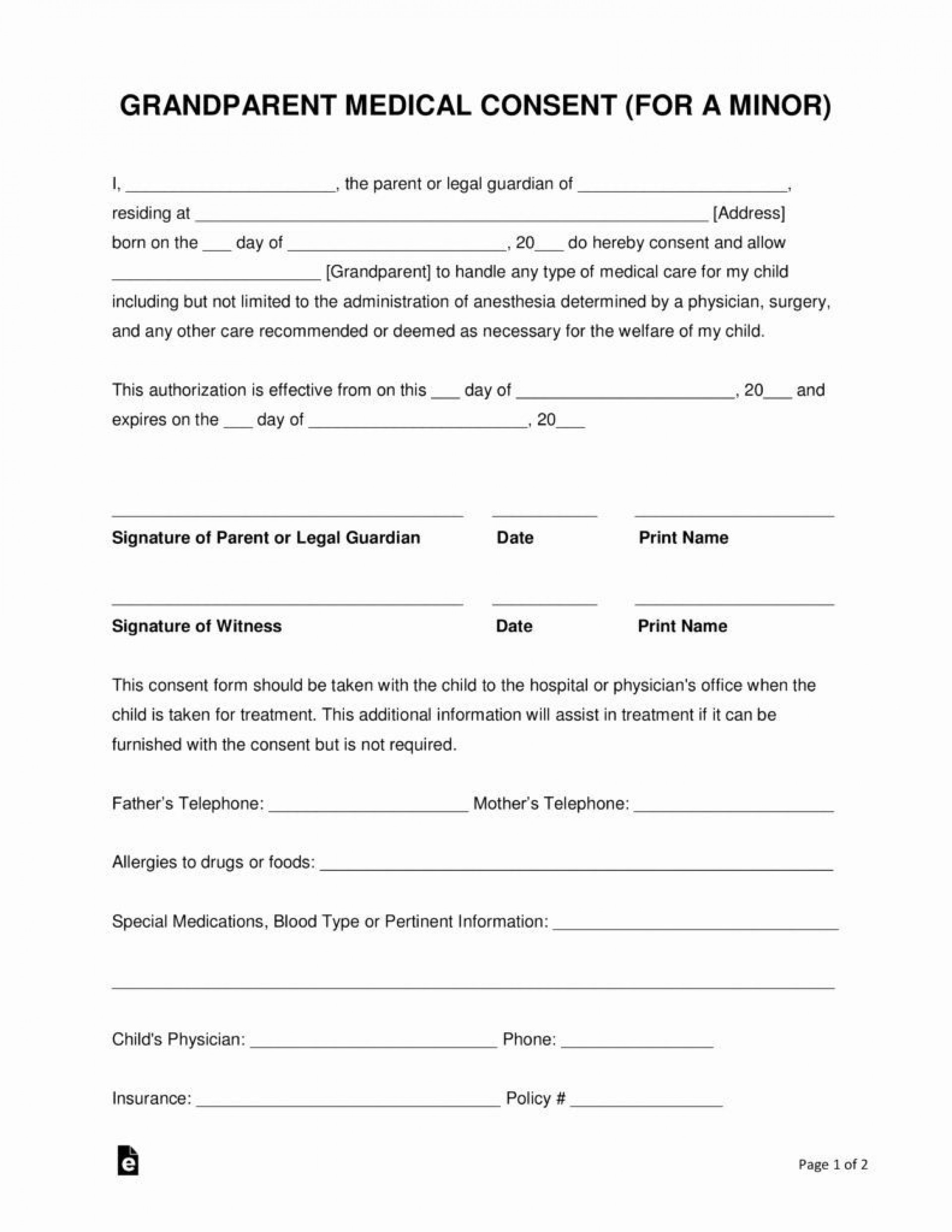 001 Surprising Free Medical Consent Form Template Example  Child Pdf Uk1920