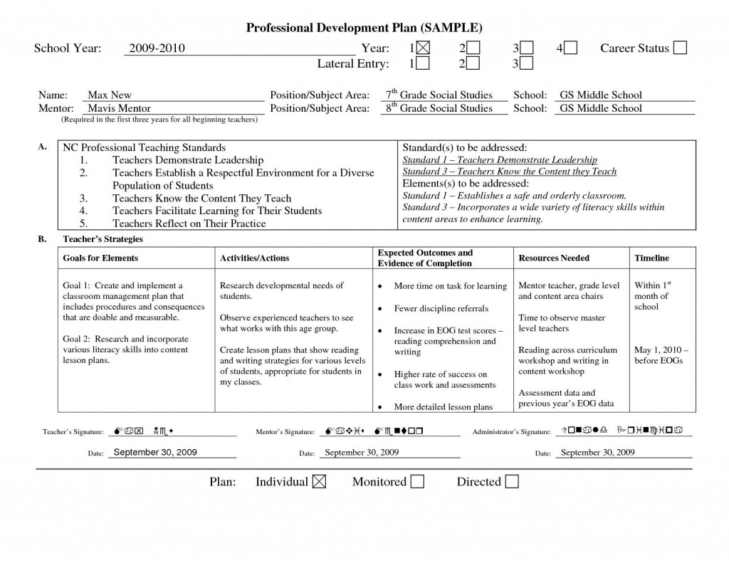 001 Surprising Professional Development Plan Template Picture  Example For Manager ExcelLarge