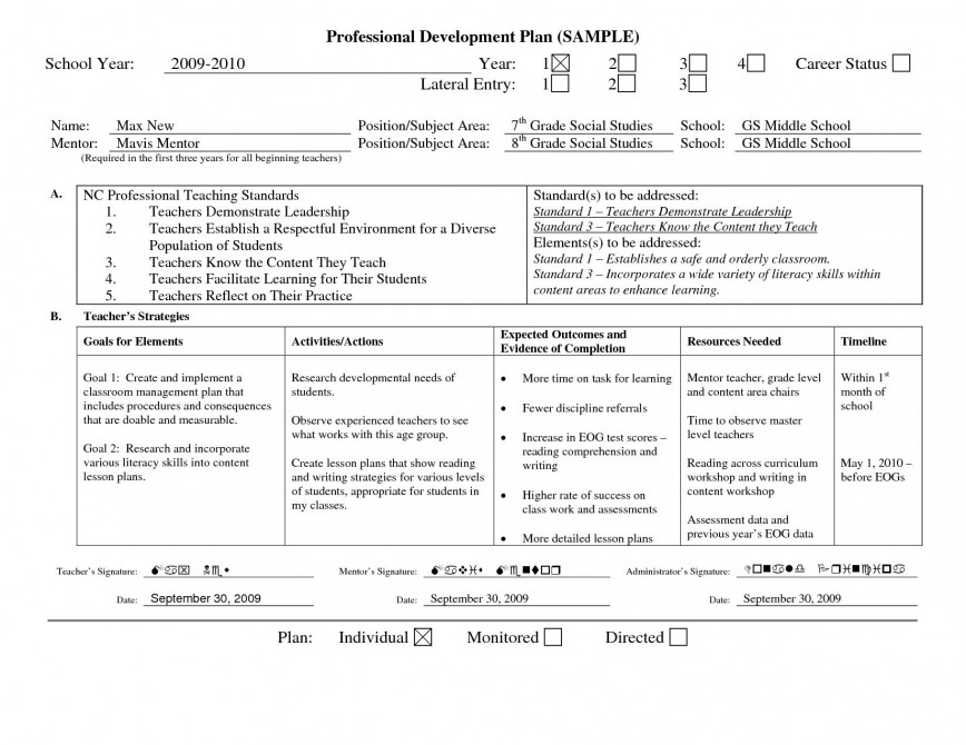 001 Surprising Professional Development Plan Template Picture  Individual For Teacher Sample Seameo Example Employee