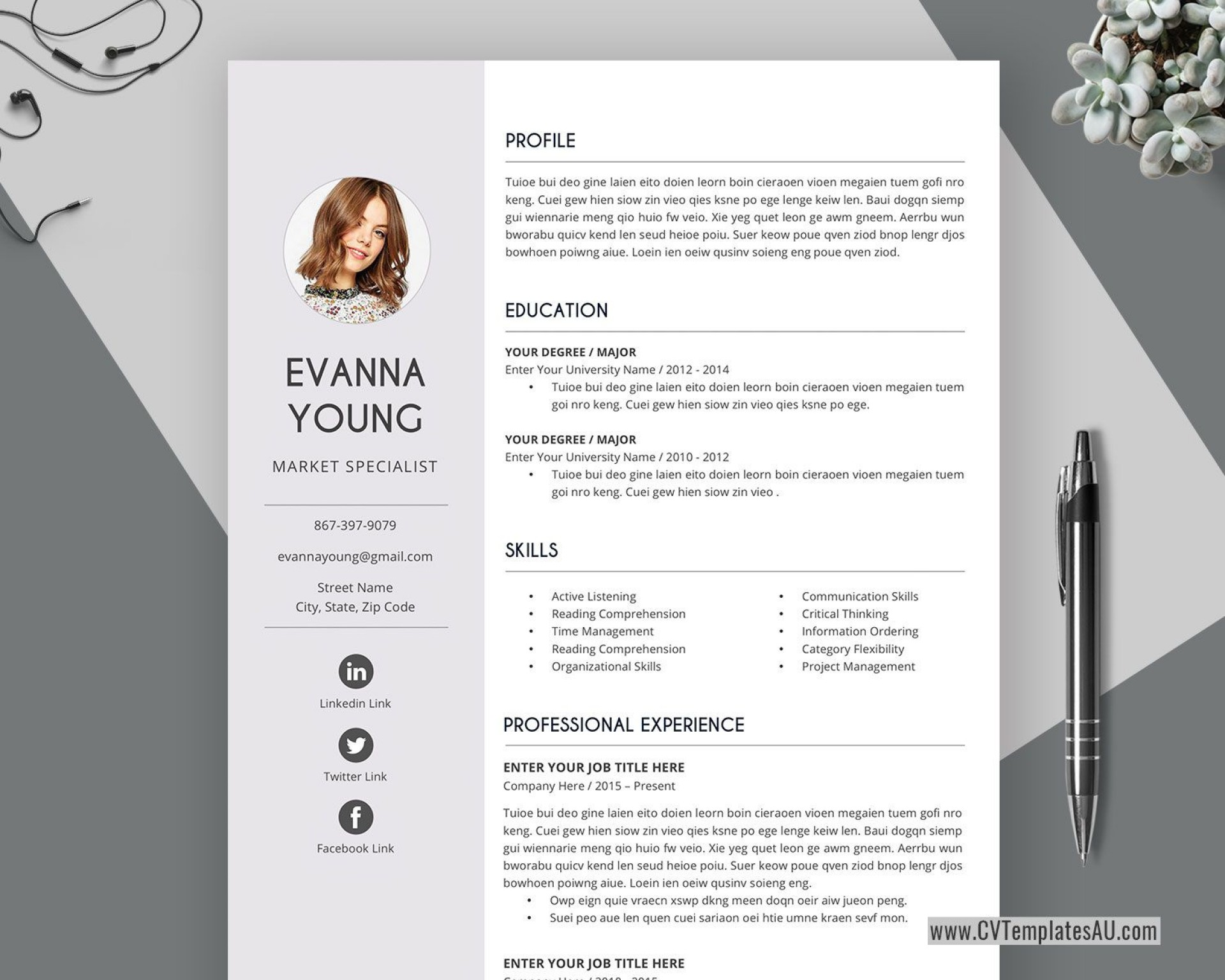 001 Surprising Simple Professional Cv Template Word Photo 1920