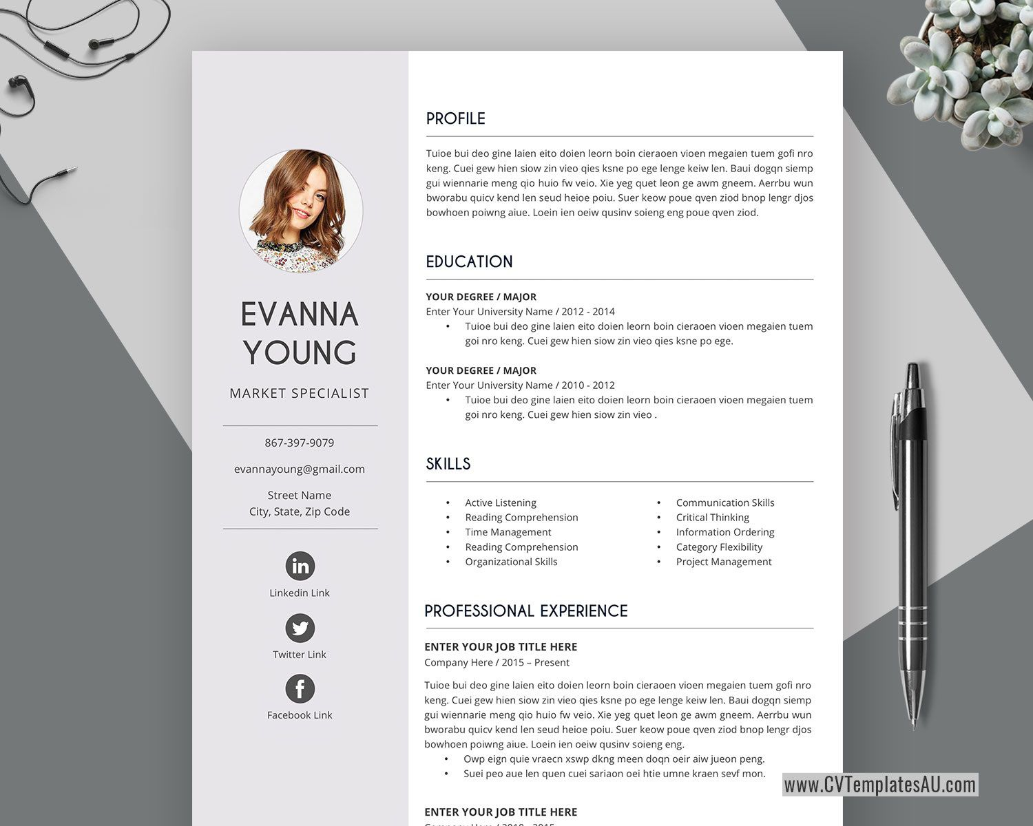 001 Surprising Simple Professional Cv Template Word Photo Full