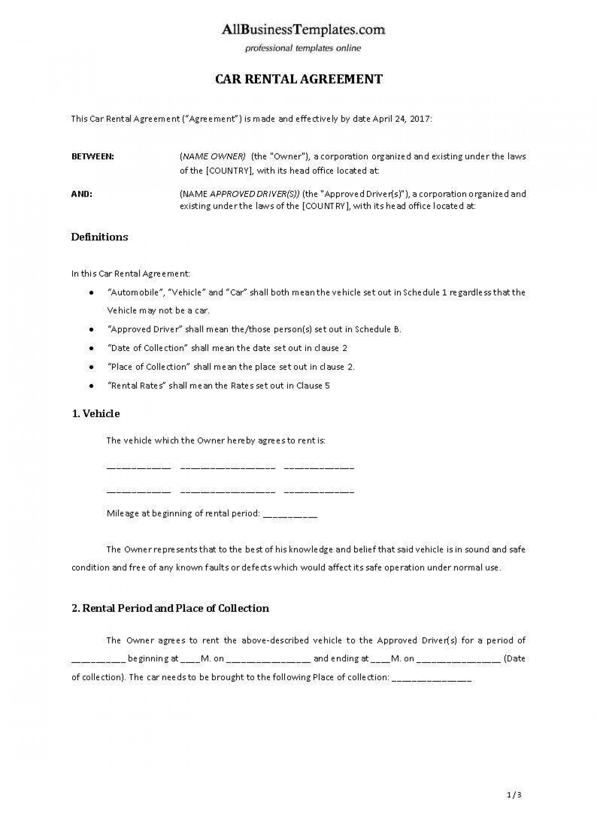 001 Surprising Template Car Rental Form Inspiration  Checklist Free Printable1920