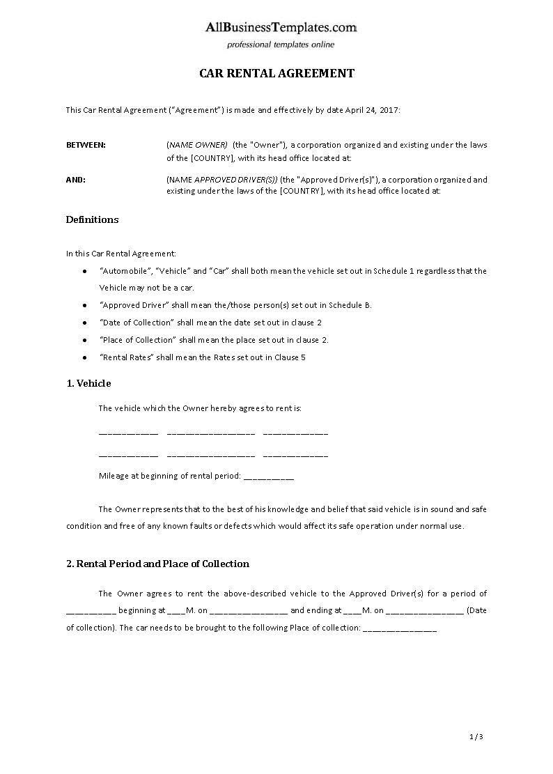 001 Surprising Template Car Rental Form Inspiration  Checklist Free PrintableFull