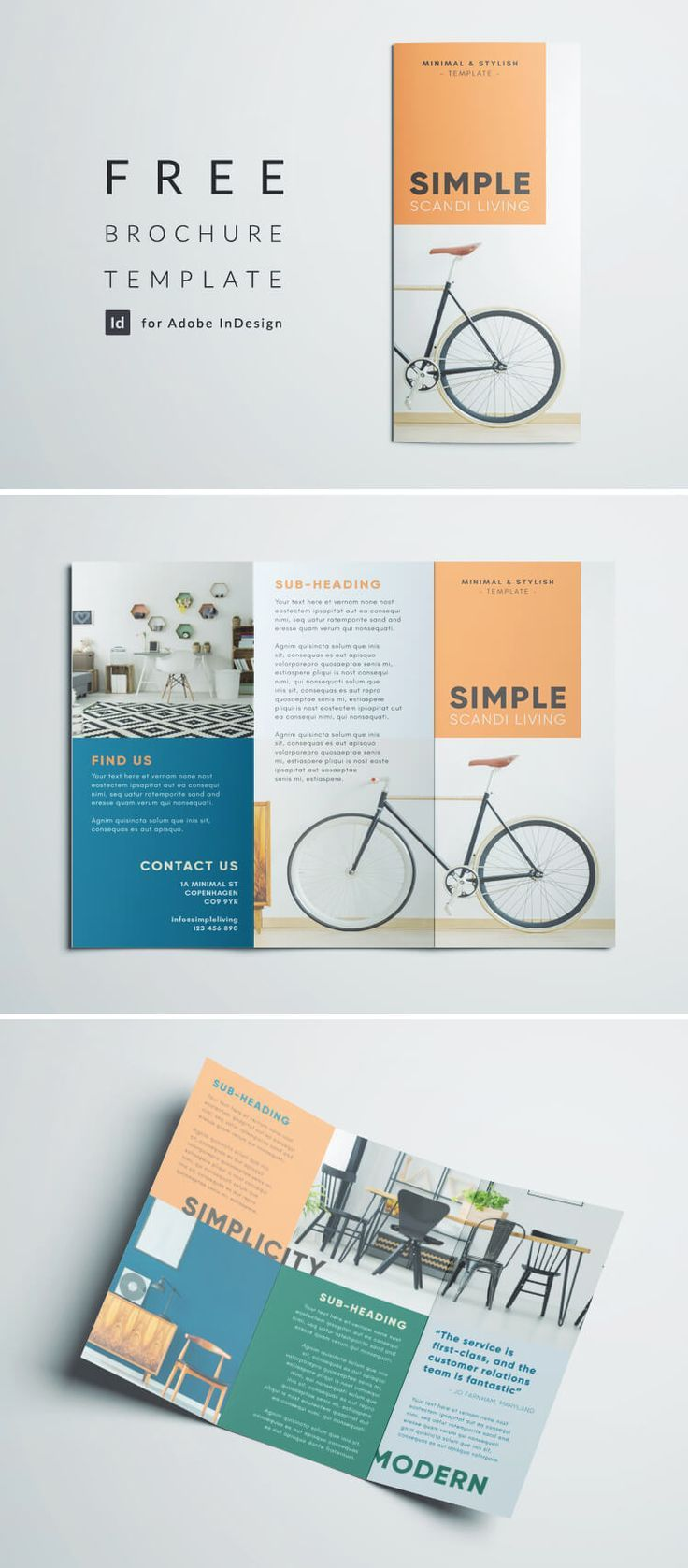 001 Surprising Three Fold Brochure Template Indesign Design  3 A4Full