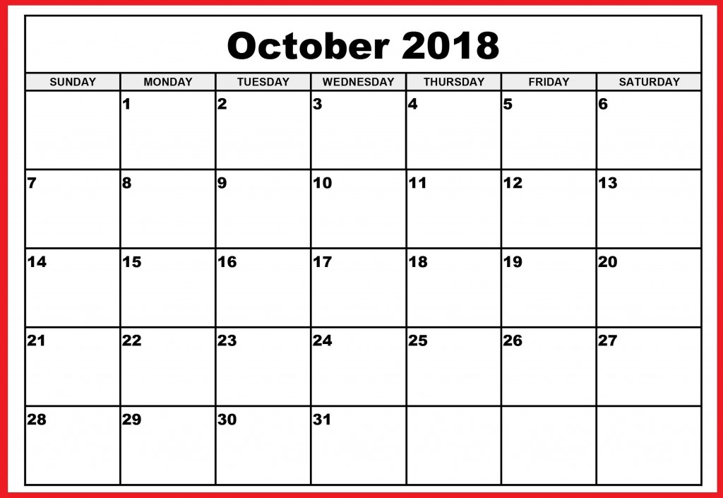 001 Top Calendar Template October 2018 Word Picture Large