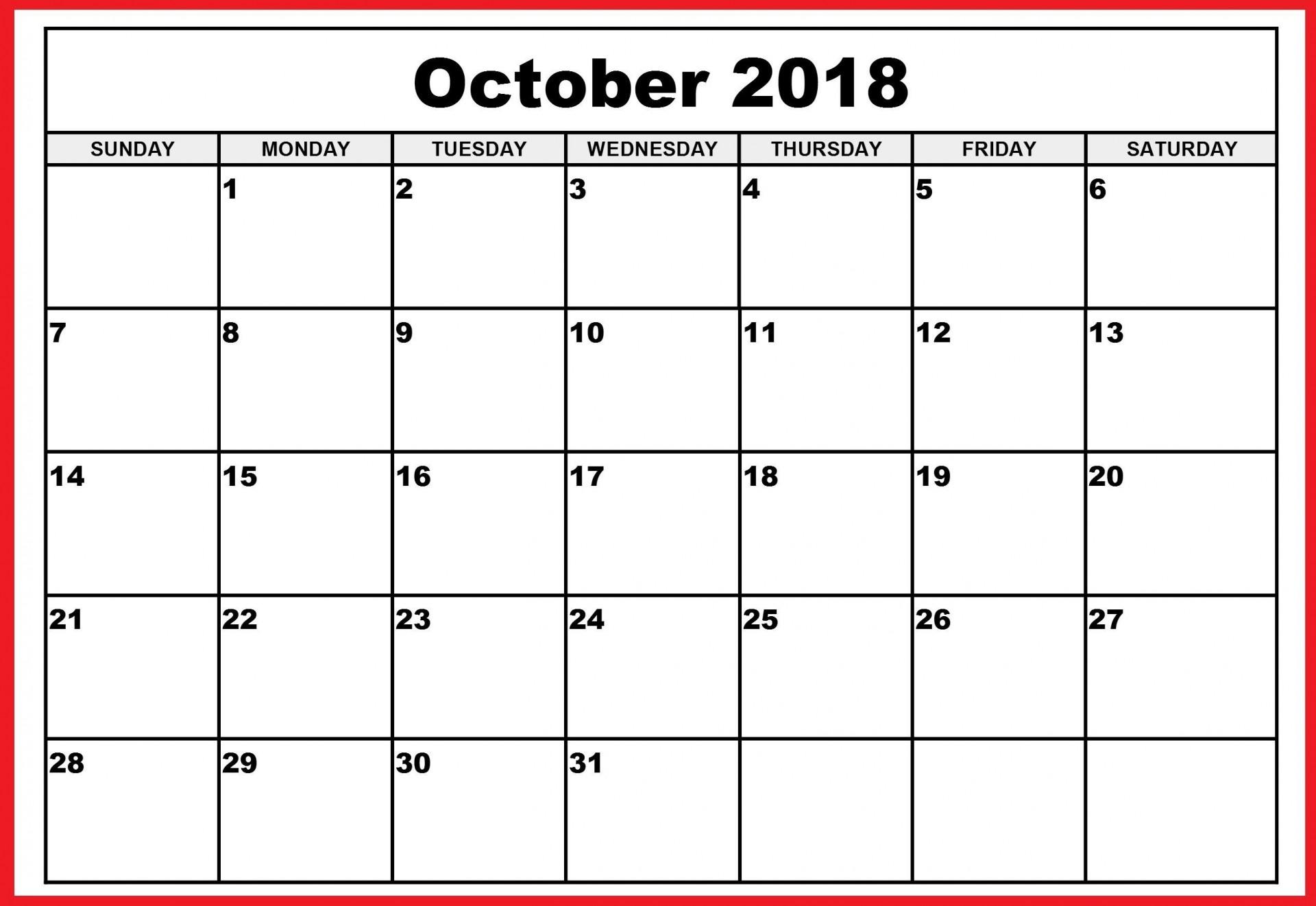 001 Top Calendar Template October 2018 Word Picture 1920