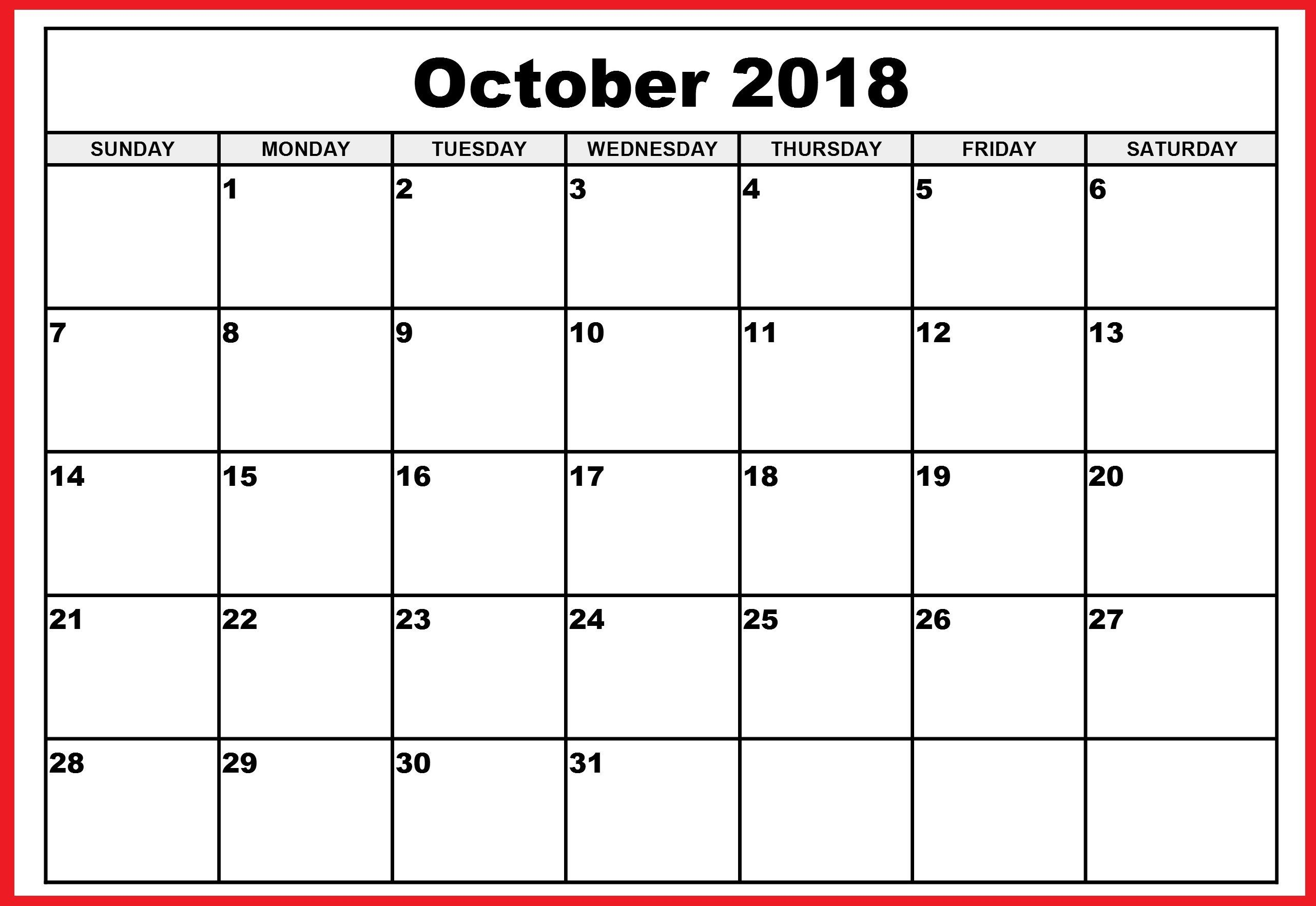 001 Top Calendar Template October 2018 Word Picture Full
