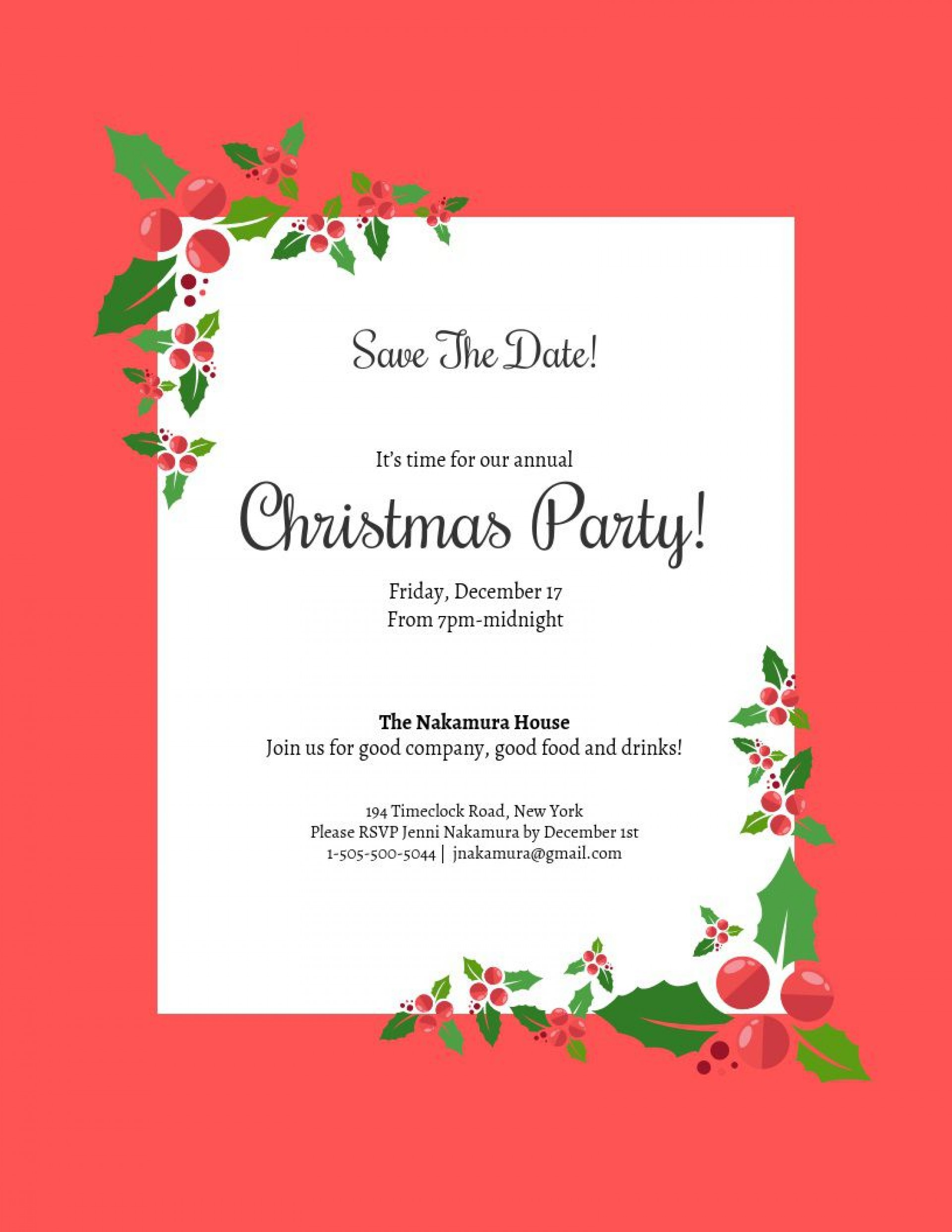 001 Top Christma Party Invite Template Concept  Microsoft Word Free Download Holiday Invitation Powerpoint1920