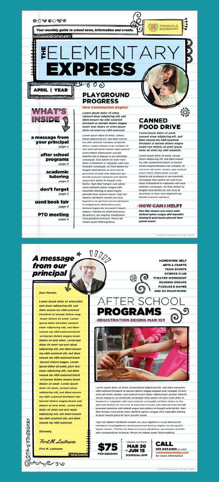 001 Top Elementary School Newsletter Template Picture  Clas Teacher Free CounselorFull