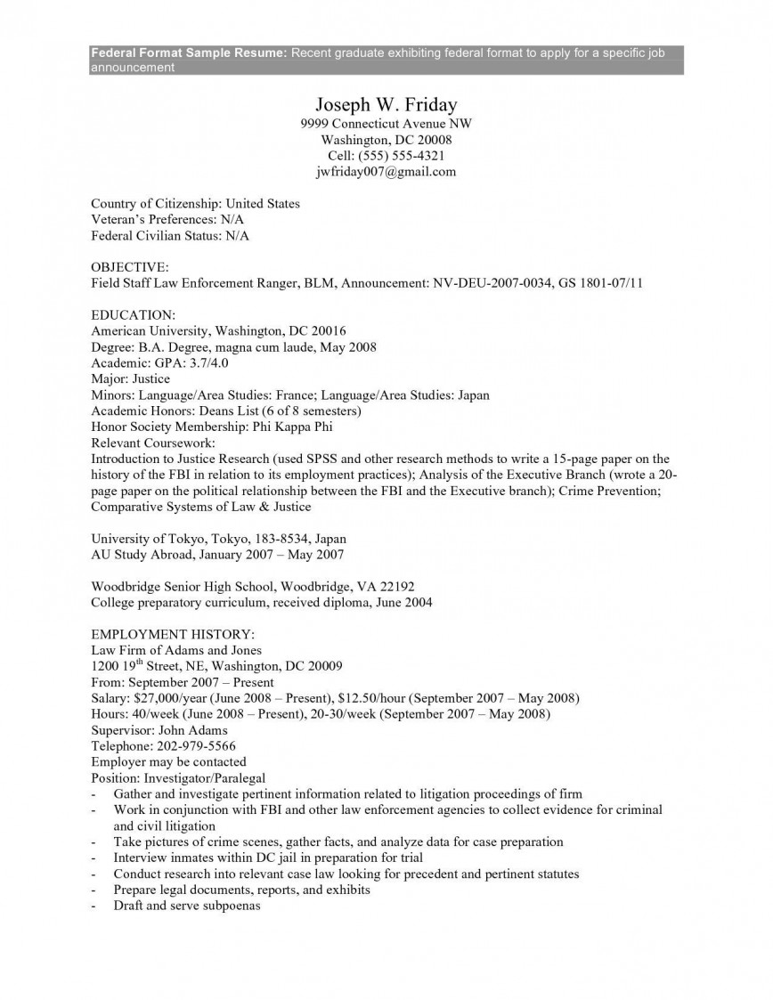 Federal Job Application Resume