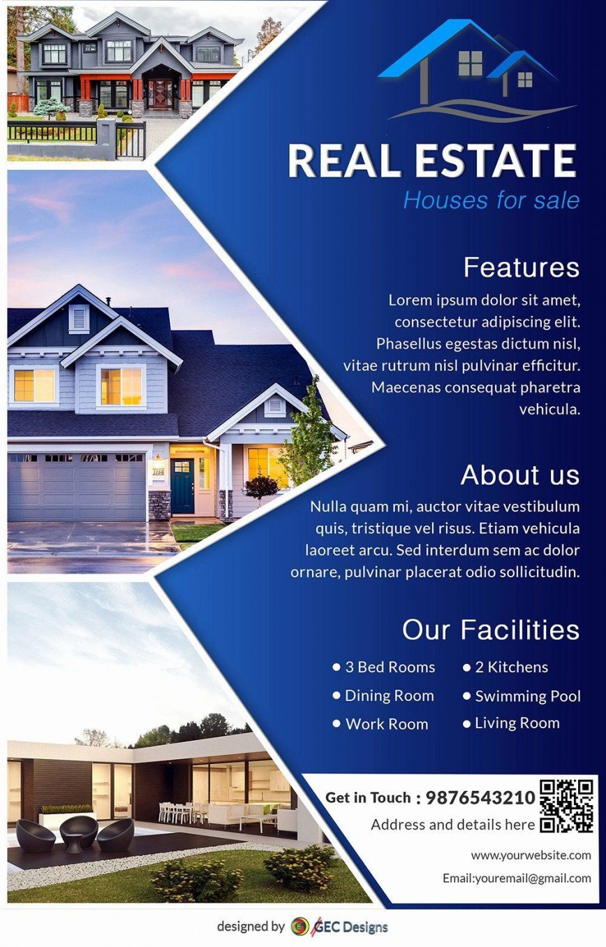 001 Top House For Sale Flyer Template Inspiration  Free Real Estate Example By Owner868