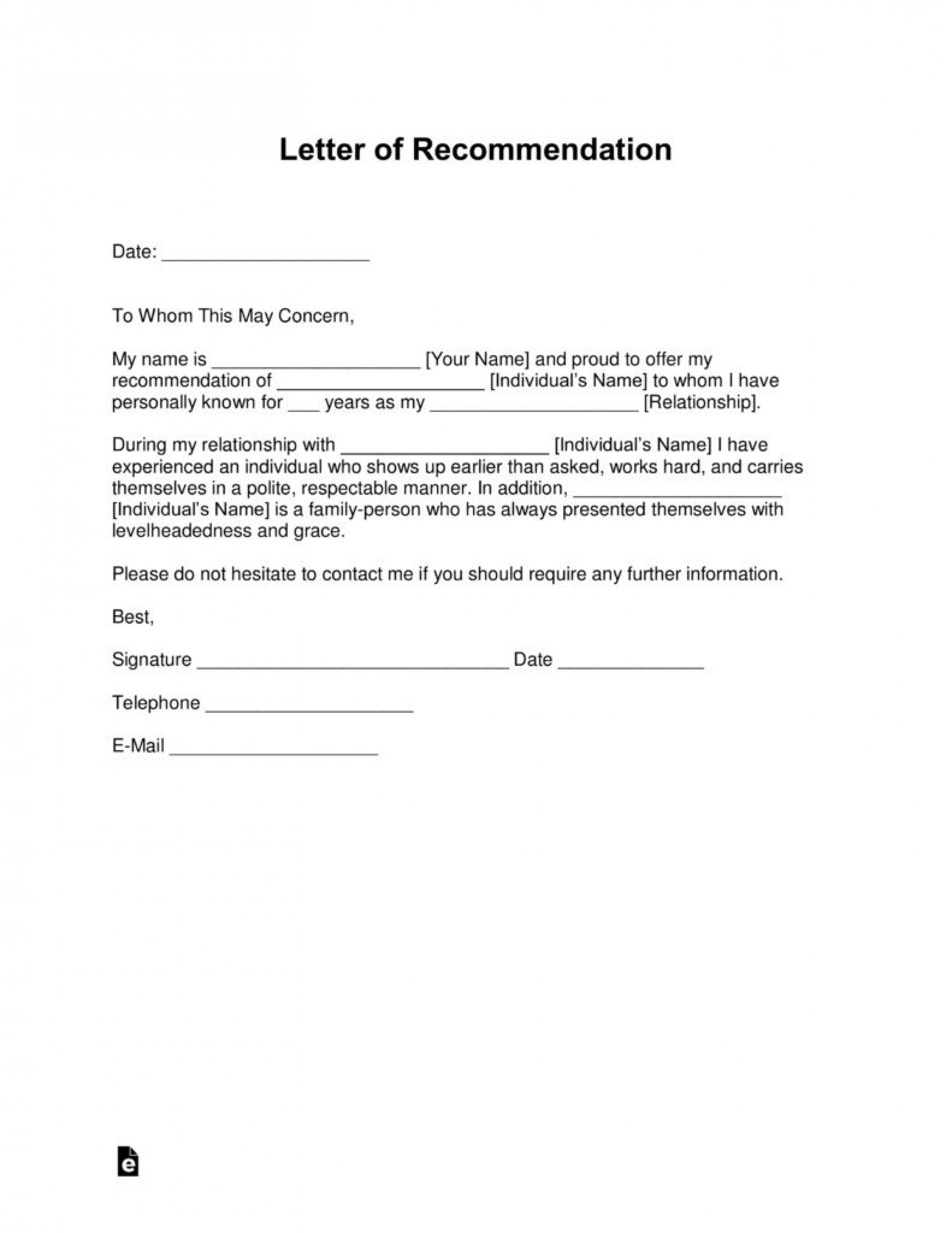 001 Top Letter Of Recommendation Template Word High Definition  General Free Doc1920