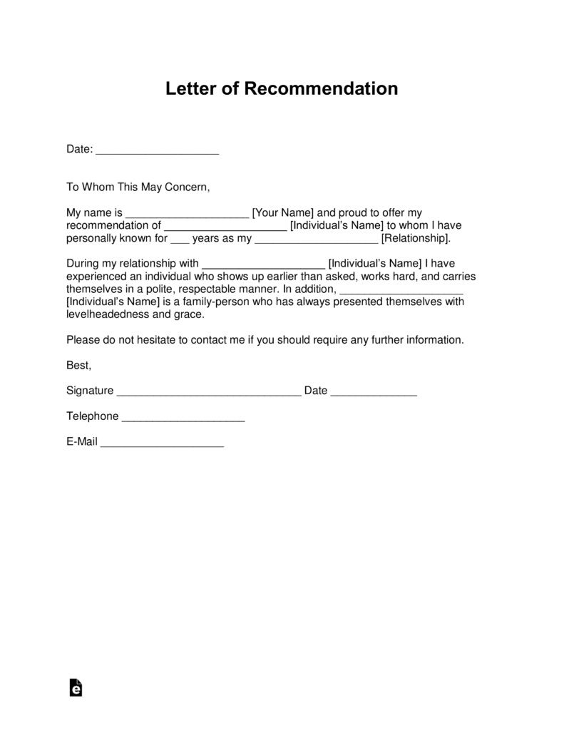 001 Top Letter Of Recommendation Template Word High Definition  General Free DocFull
