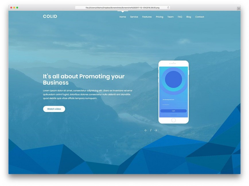 001 Top One Page Website Template Free Example  Html Responsive Download With Cs