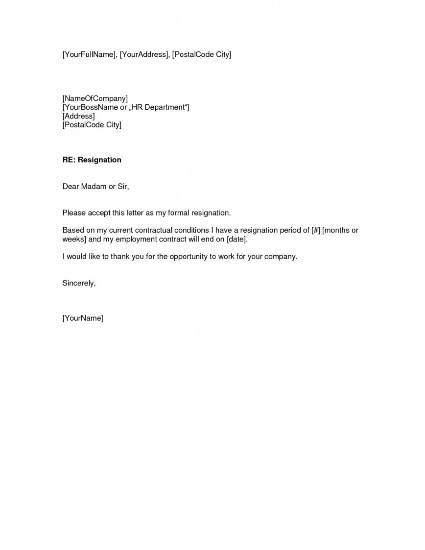 Letter Of Resignation Template Free from www.addictionary.org