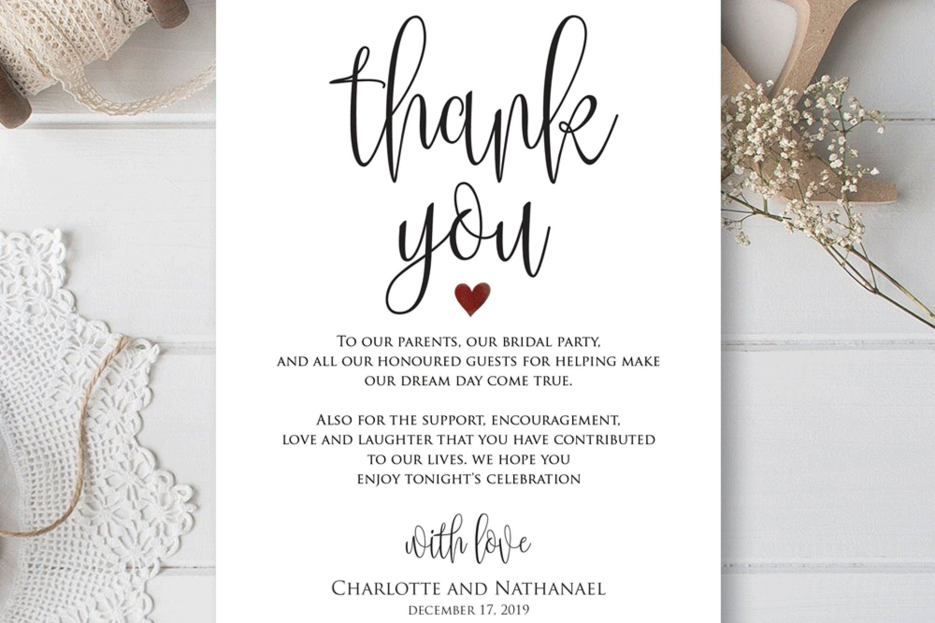 001 Top Thank You Note For Wedding Guest Template Photo  Card1920