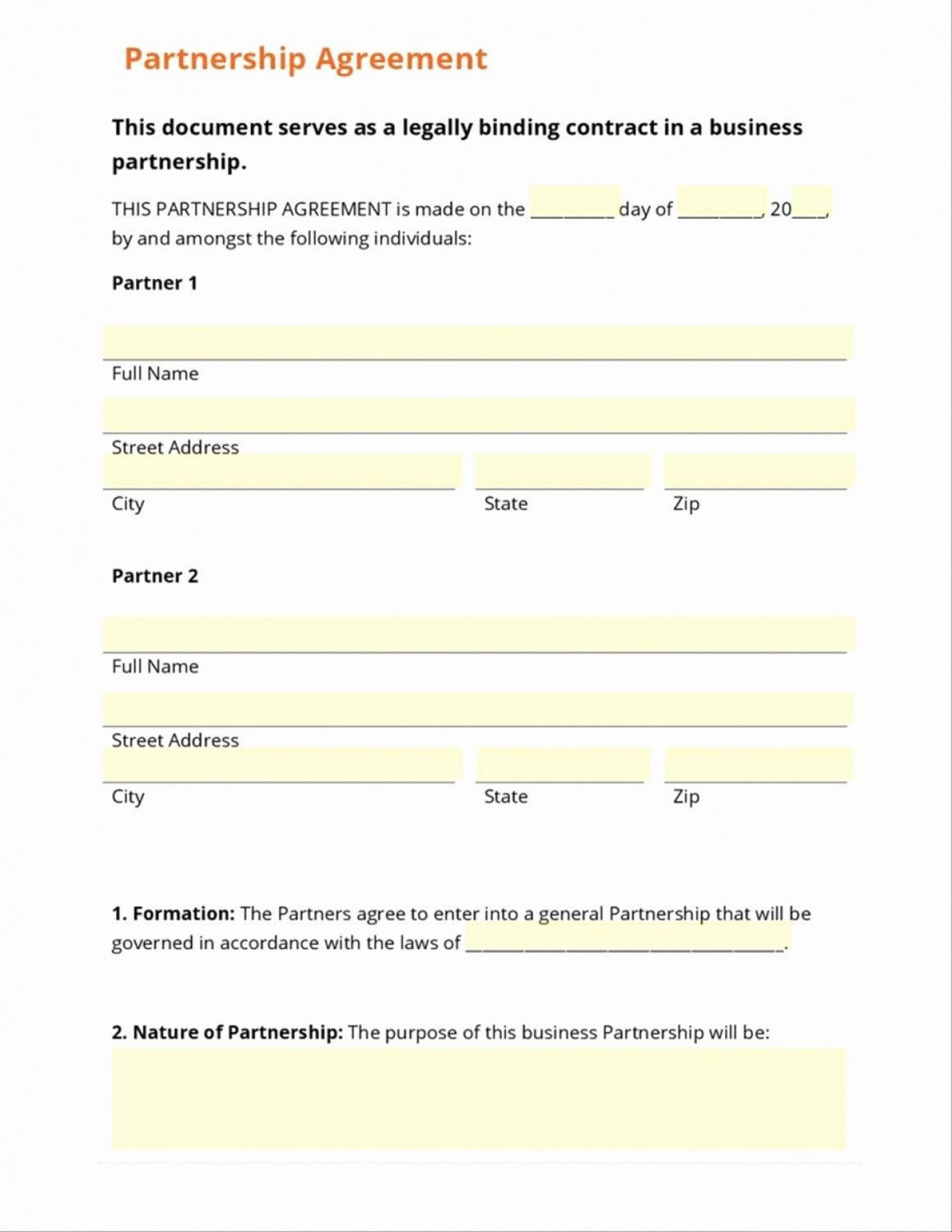001 Unbelievable Busines Partnership Contract Template Photo  Agreement Free Nz Word1400