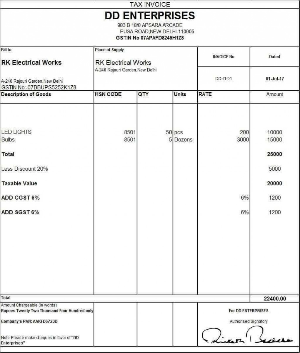 001 Unbelievable Excel Invoice Template Gst Free Download High Definition Large