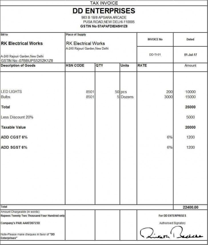 001 Unbelievable Excel Invoice Template Gst Free Download High Definition 728
