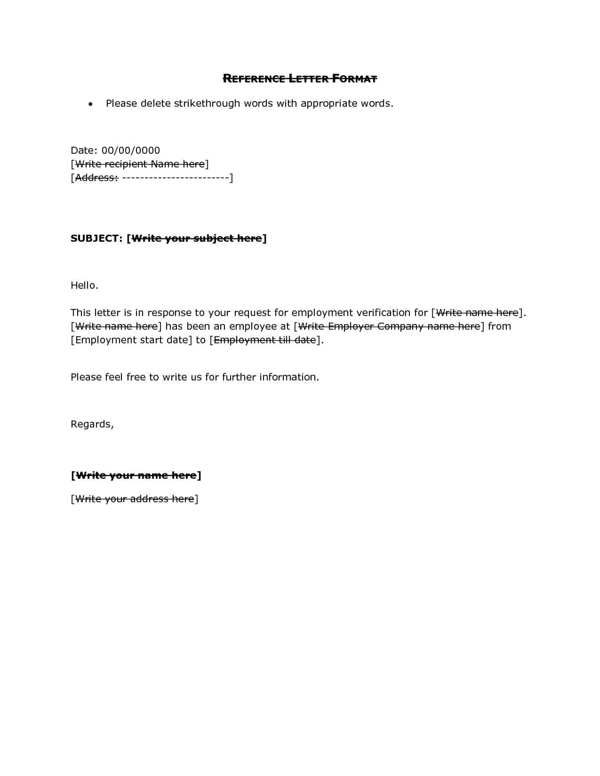 001 Unbelievable Free Reference Letter Template For Employee Concept  Employment Word1920