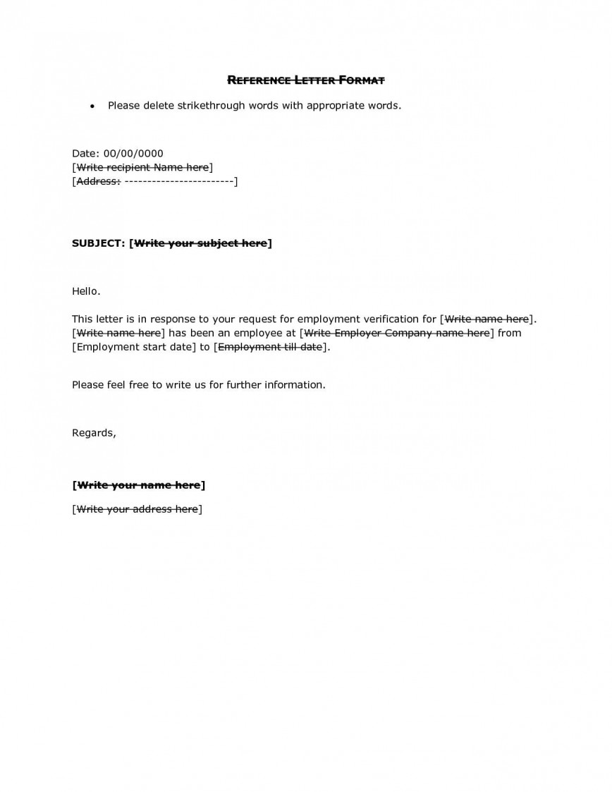 001 Unbelievable Free Reference Letter Template For Employee Concept  Employment Word868