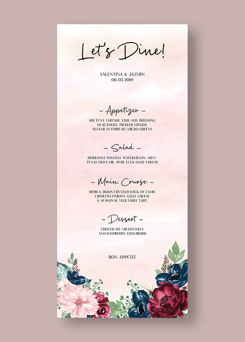 001 Unbelievable Free Wedding Menu Template Highest Clarity  Templates Printable For MacFull
