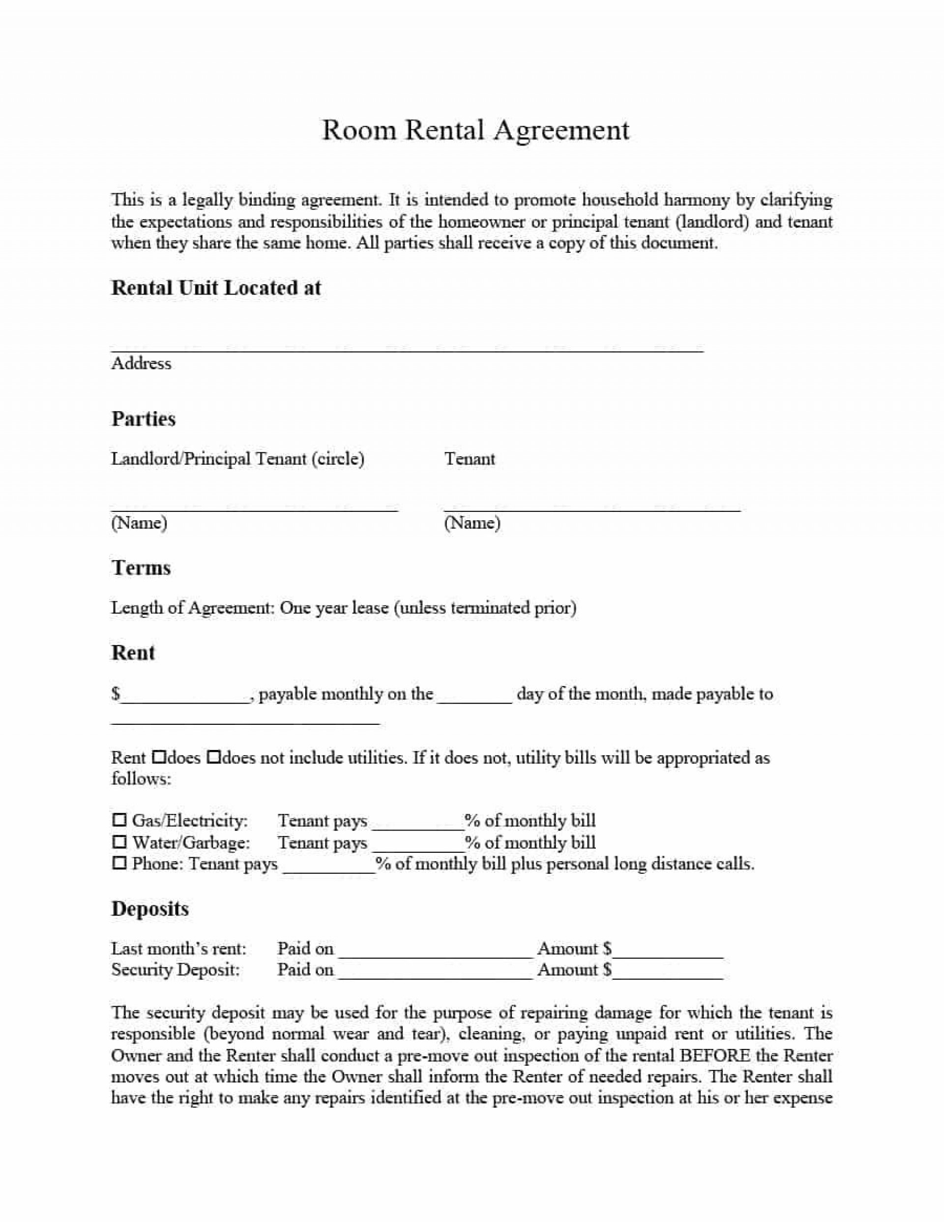 001 Unbelievable Simple Room Rental Agreement Template Highest Quality  Free1920