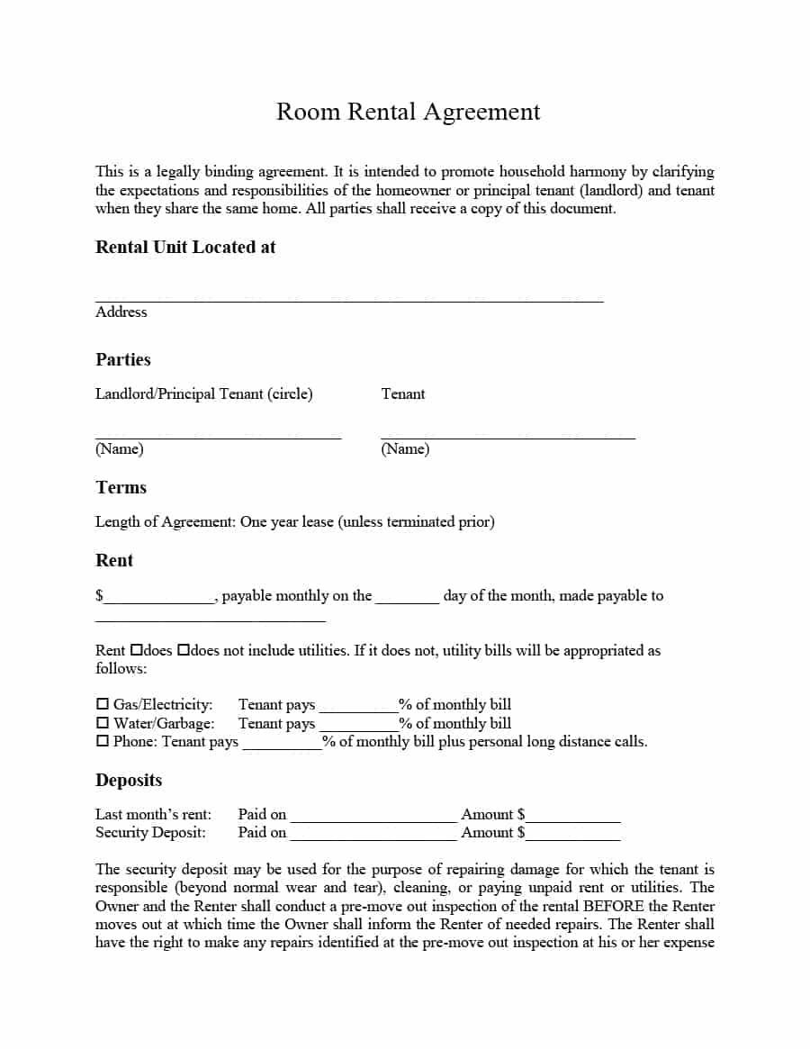 001 Unbelievable Simple Room Rental Agreement Template Highest Quality  FreeFull