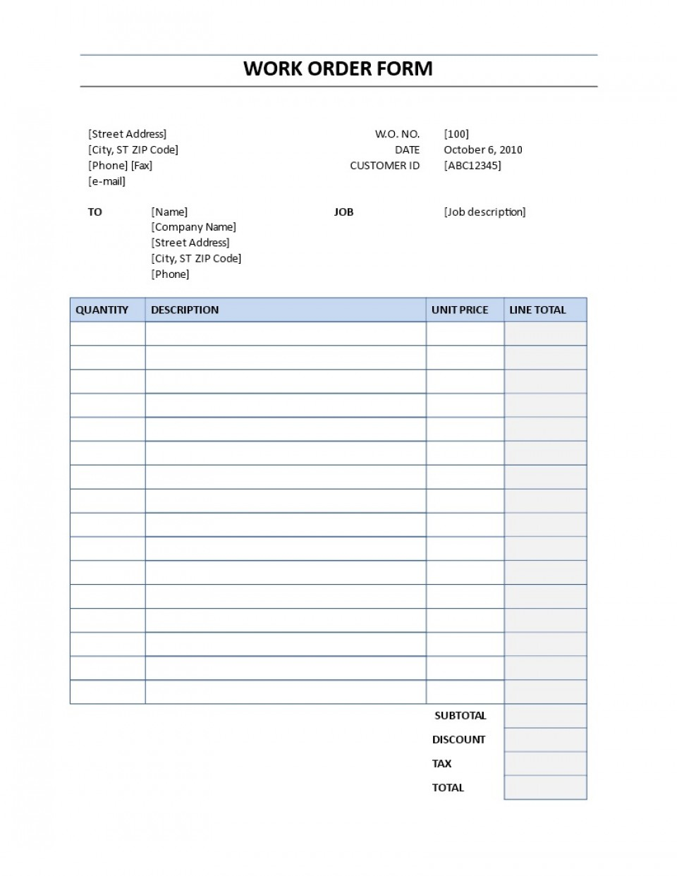 001 Unbelievable Work Order Form Template High Definition  Request Excel Advertising Company Free960