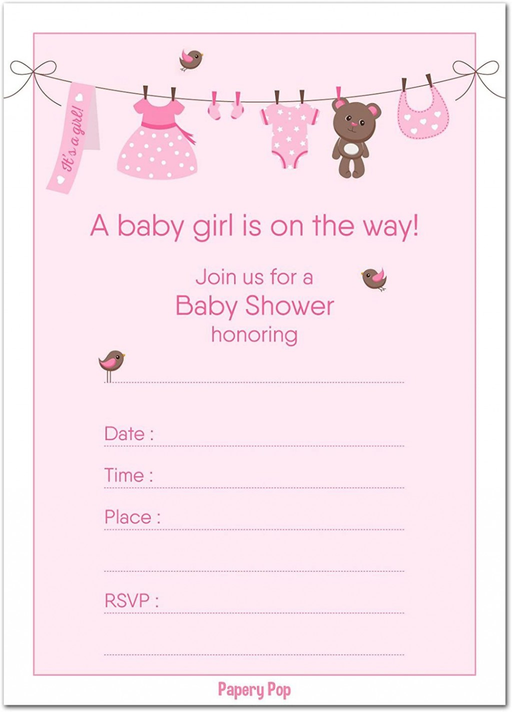 001 Unforgettable Baby Shower Template Girl Photo  Nautical Invitation Free For WordLarge