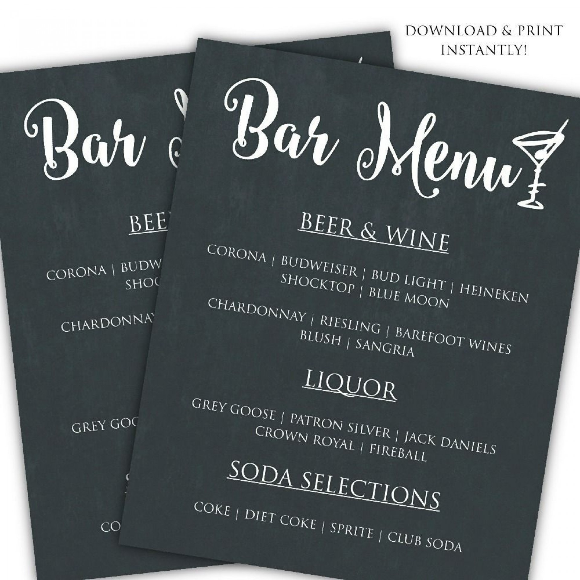 001 Unforgettable Bar Menu Template Free Concept  Download Snack1920