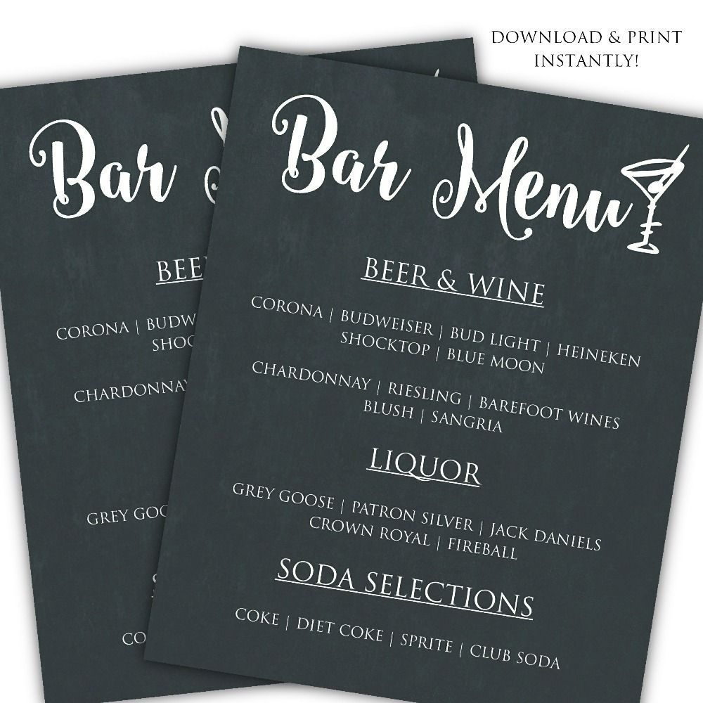 001 Unforgettable Bar Menu Template Free Concept  Download SnackFull