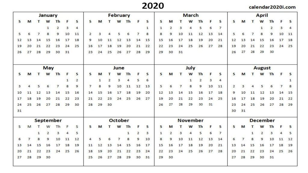 001 Unforgettable Calendar 2020 Template Word Idea  Monthly Doc Free DownloadLarge
