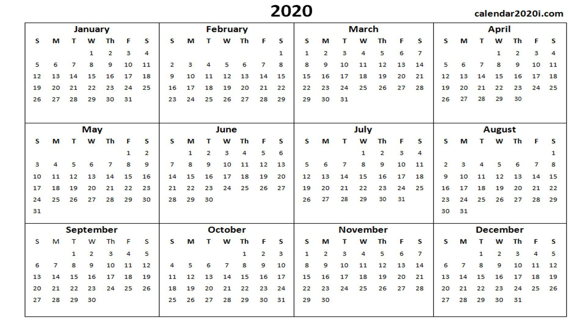 001 Unforgettable Calendar 2020 Template Word Idea  Monthly Doc Free Download1920