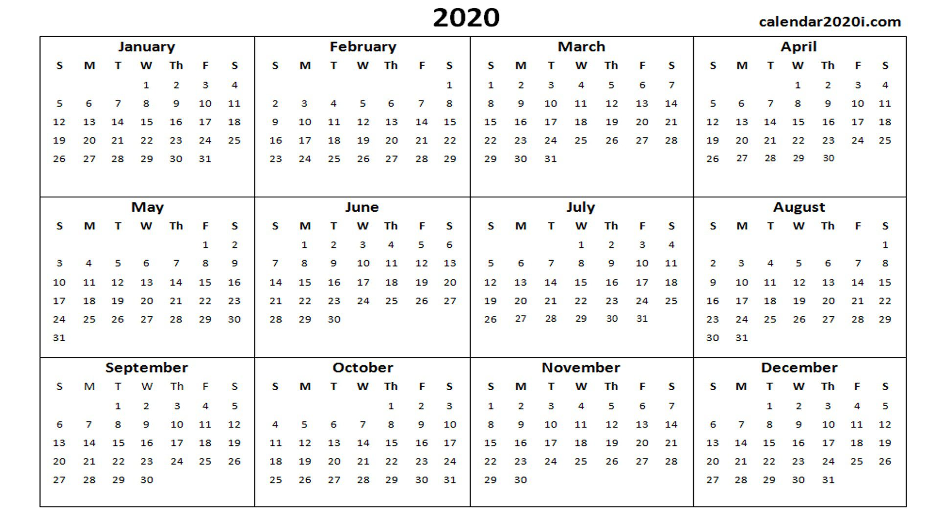 001 Unforgettable Calendar 2020 Template Word Idea  Monthly Doc Free DownloadFull