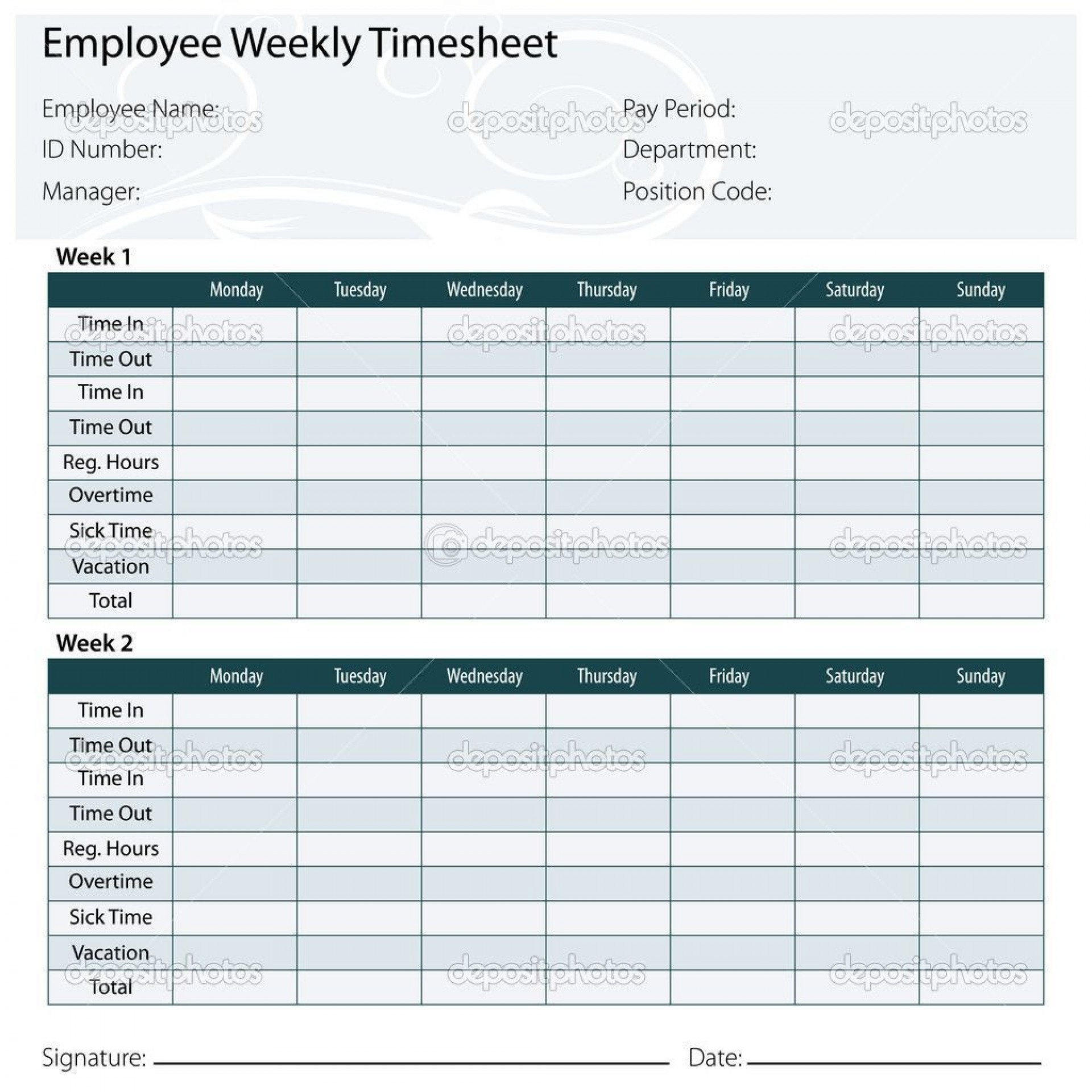 001 Unforgettable Employee Monthly Time Card Template Sample 1920