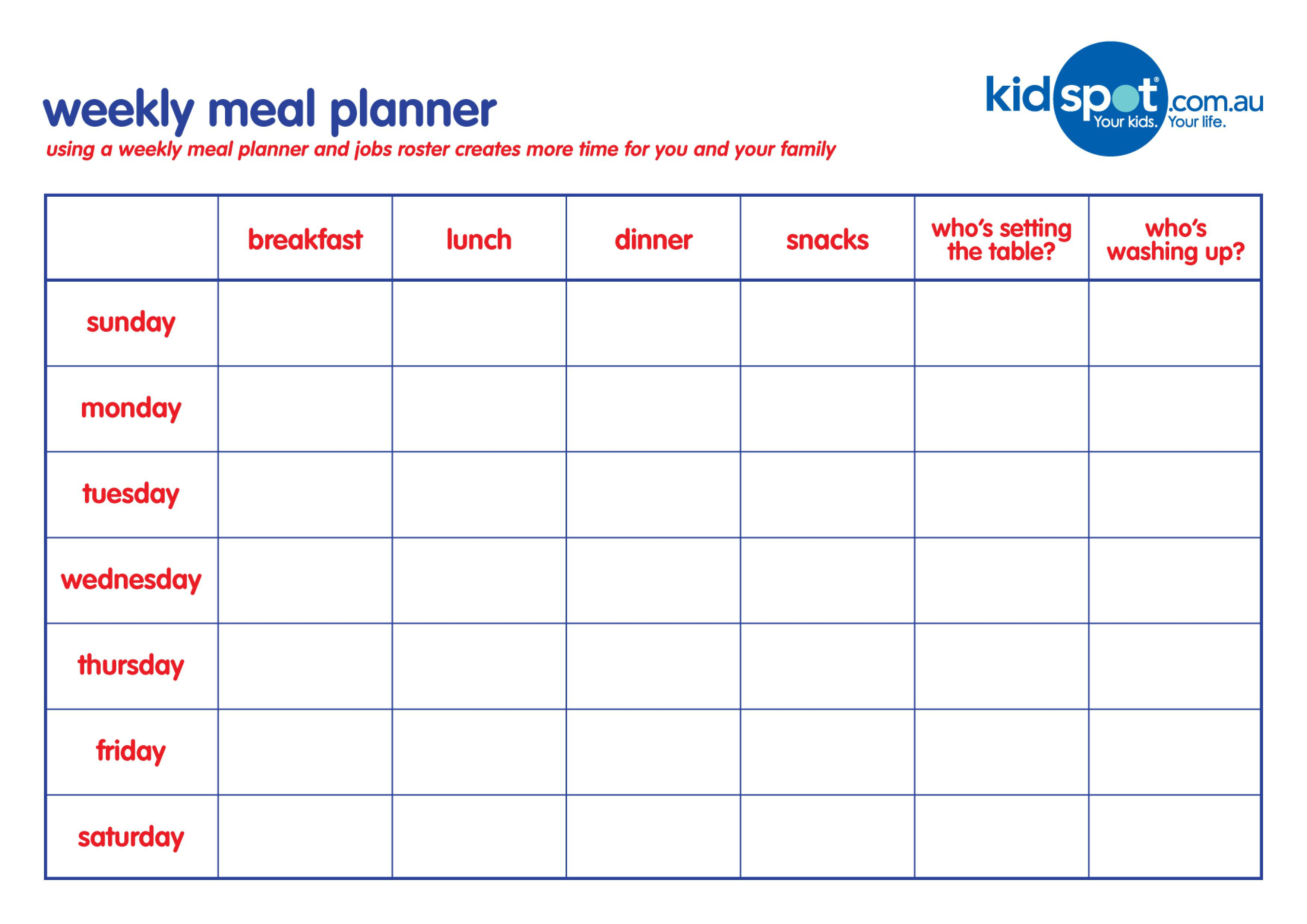001 Unforgettable Family Meal Planner Template Example  Word MenuFull