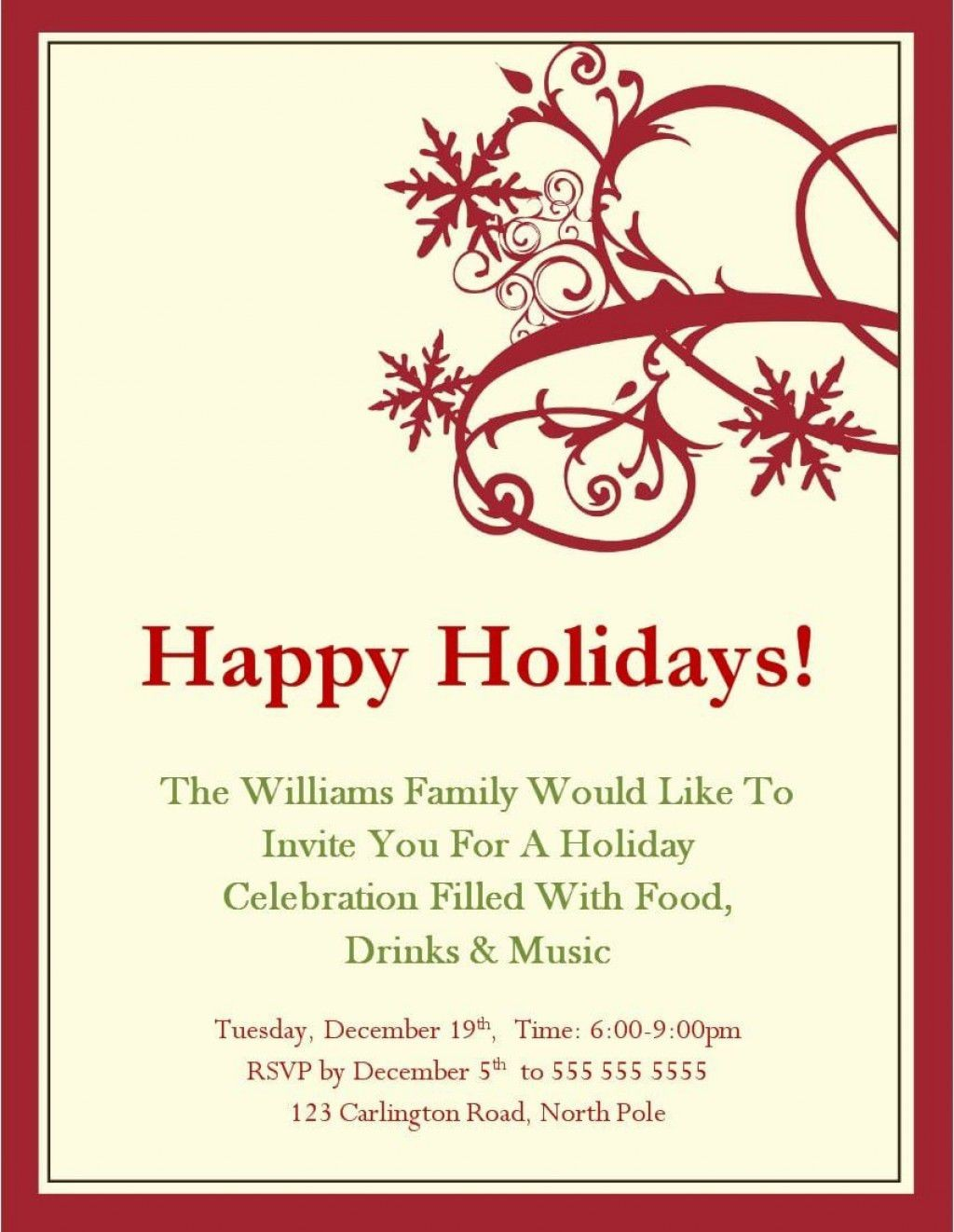 001 Unforgettable Free Holiday Invite Template High Resolution  Templates Party Ticket For EmailLarge