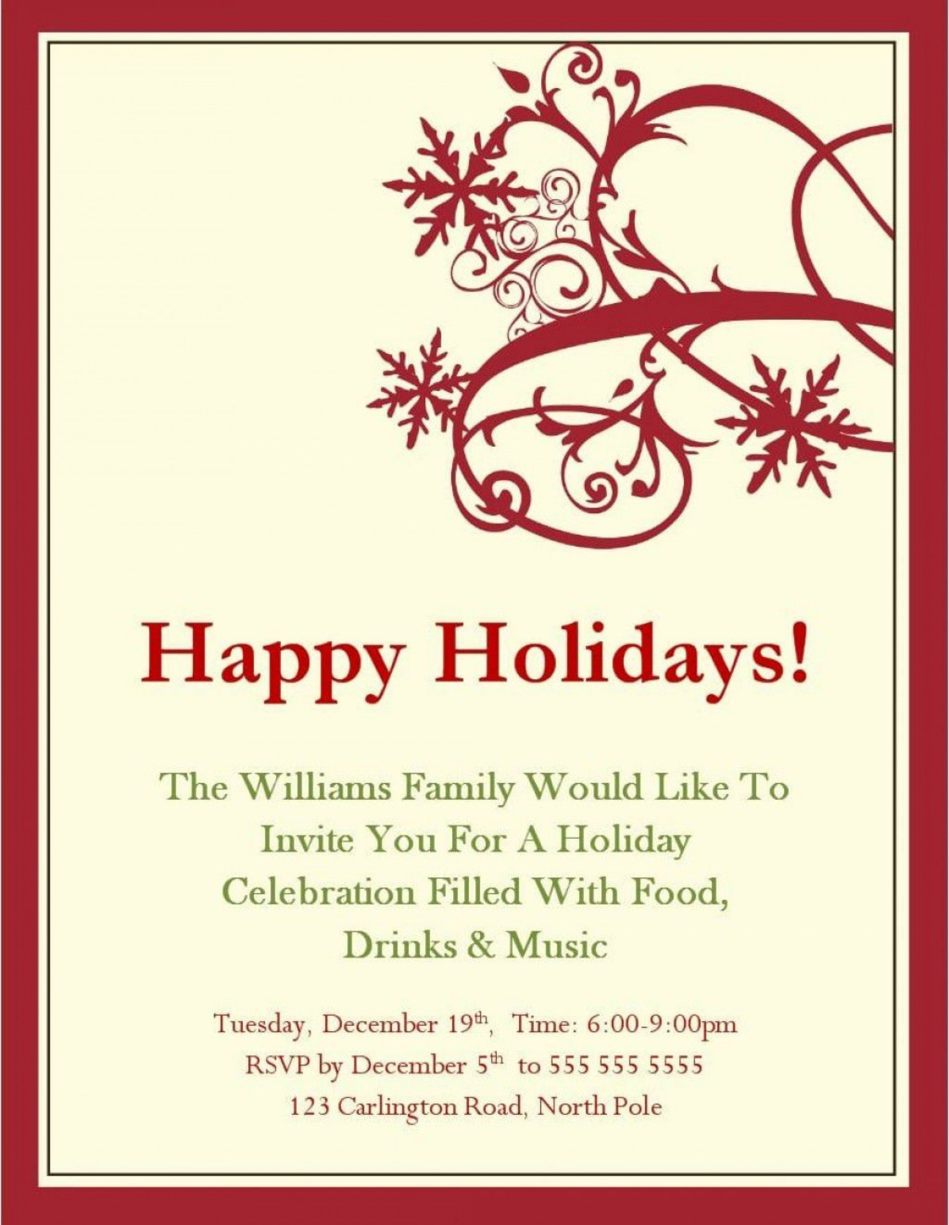 001 Unforgettable Free Holiday Invite Template High Resolution  Templates Party Ticket For Email1920
