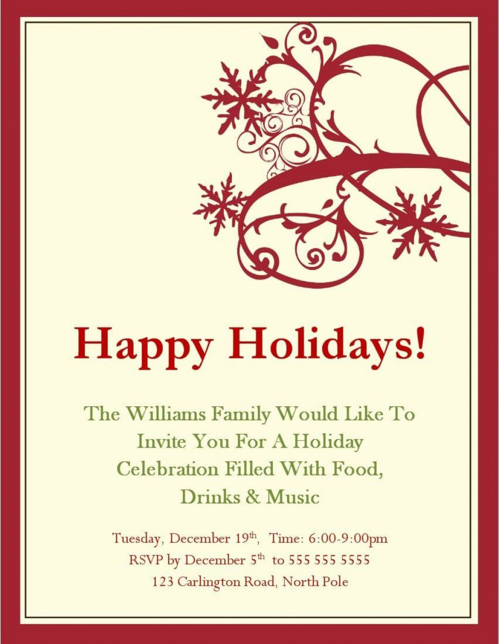 001 Unforgettable Free Holiday Invite Template High Resolution  Templates Party Ticket For EmailFull