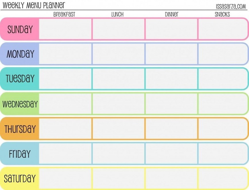 001 Unforgettable Free Meal Planner Template Word Concept  Monthly Editable Weekly