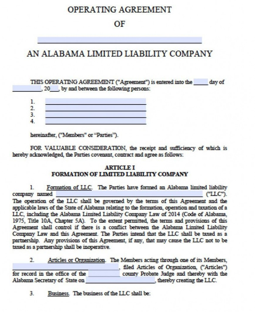 001 Unforgettable Free Operating Agreement Template Inspiration  For Multi Member Llc Pdf Word
