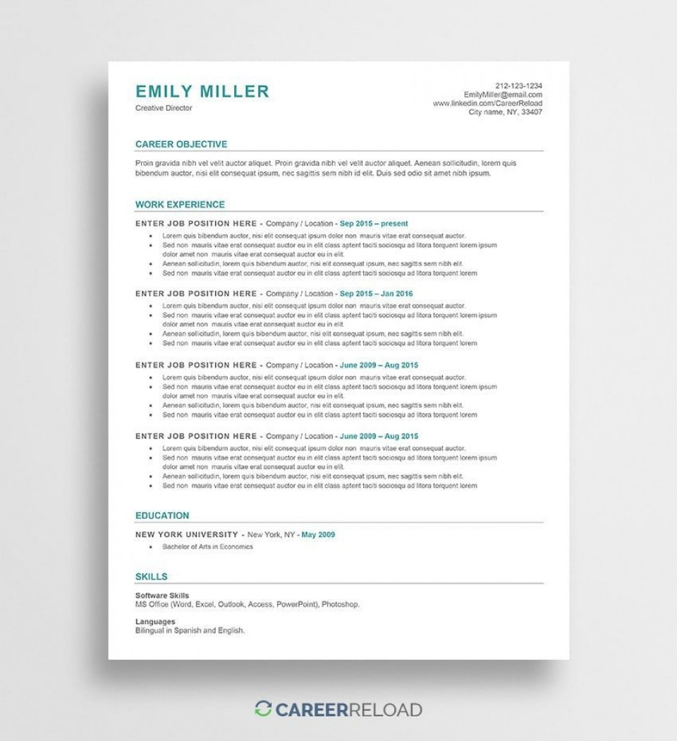 001 Unforgettable Free Printable Creative Resume Template Microsoft Word Highest Quality 960