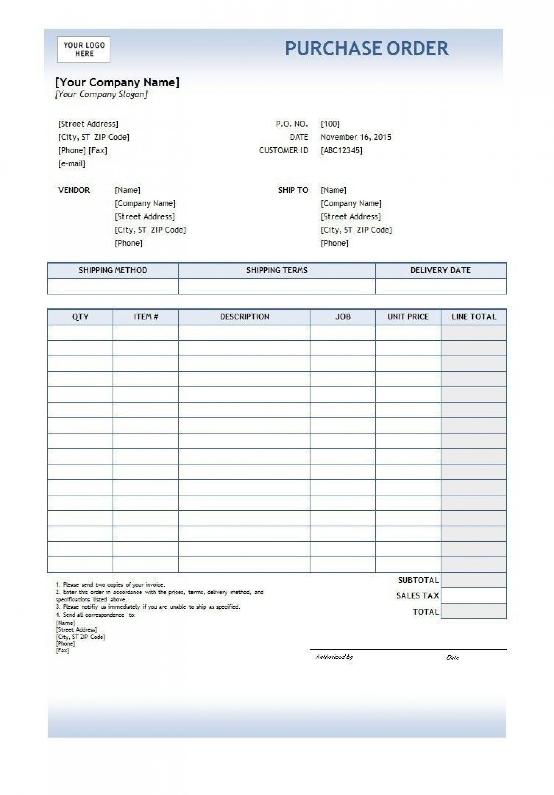 Free Purchase Order Template Addictionary