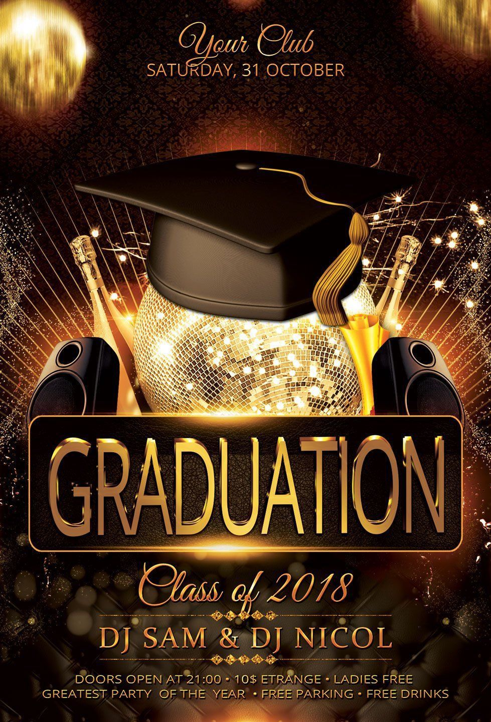 001 Unforgettable Graduation Party Flyer Template Free Psd Highest Clarity Full