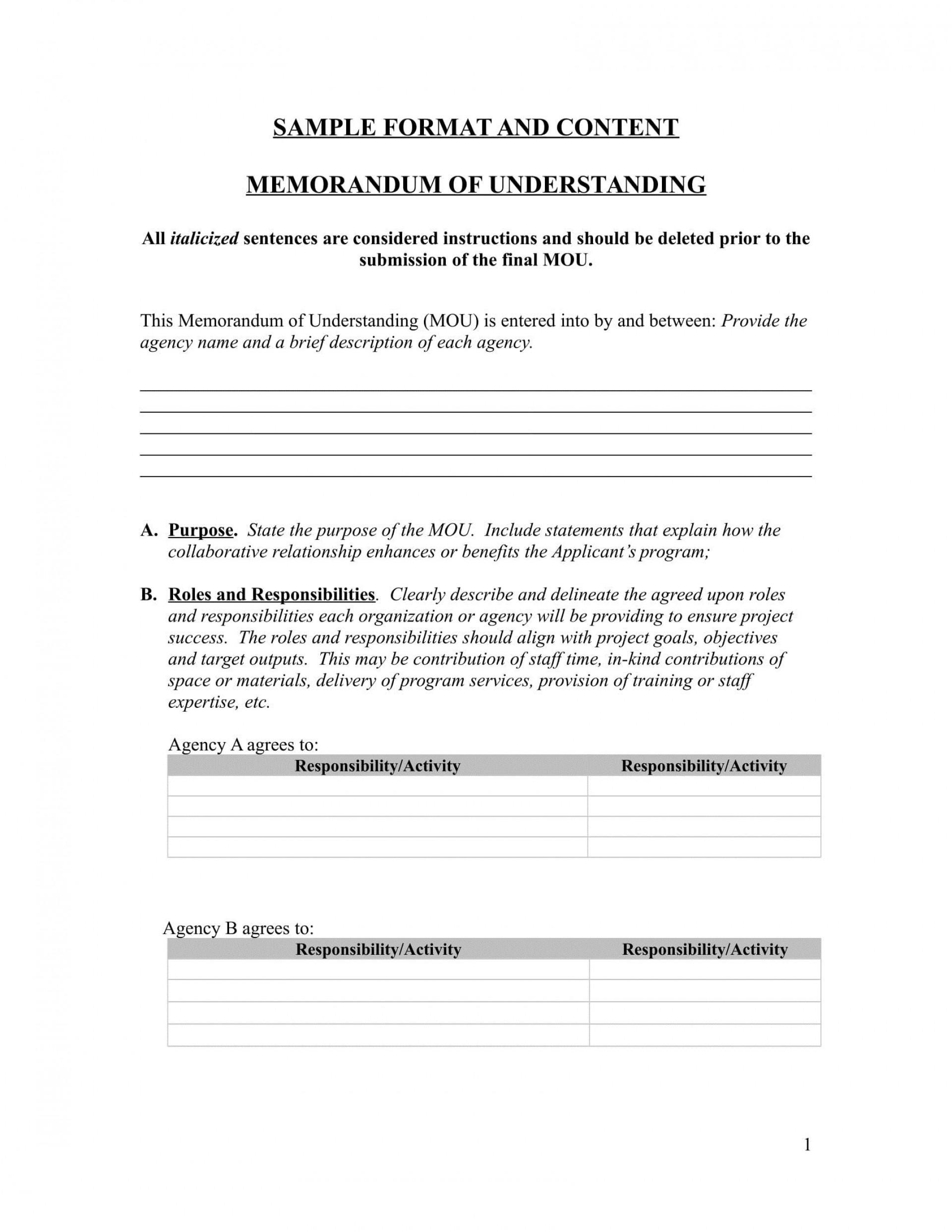 001 Unforgettable Letter Of Understanding Sample Format High Resolution 1920